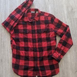 Salt Valley Men's Red/Black Plaid Button-up SZ L